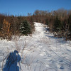 Logging road continues to climb.  Lots of buried and unburied moose tracks