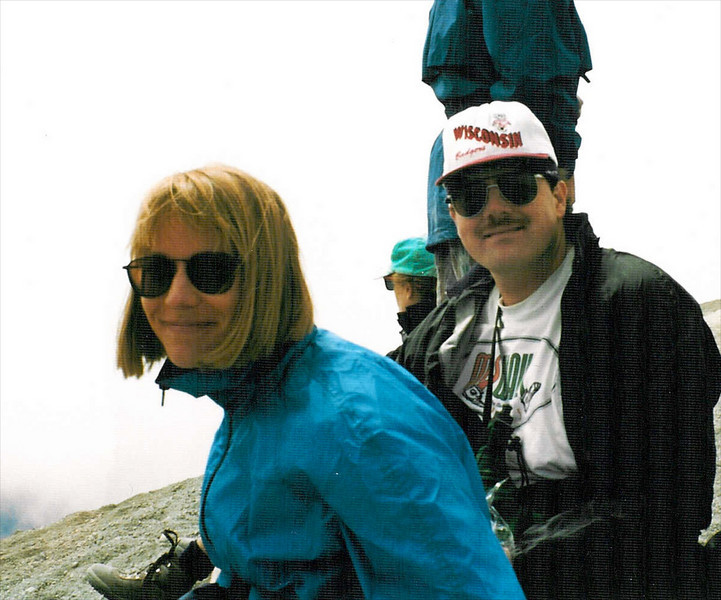 Russ and Julie at the top of Mt St Helens.  Go Badgers!