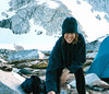 Monique at camp in The Enchantments, 1997.  Note the goat on the left side.  This was our first backpacking trip together.