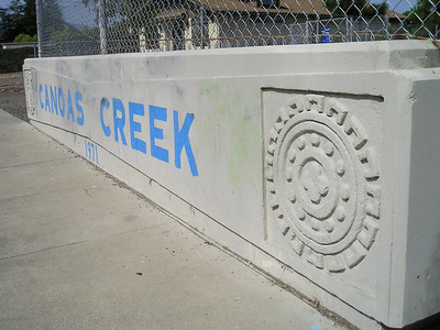 Canoas Creek was apparently built in 1971. (You can kind of see greenish smears of mostly removed pesky graffiti.)