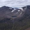 First glimpse of Lochain Uaine, the Loch of Angels (or is this the Green Loch?) from the summit ridge of Braeriach.  The lochain is nestled in Choire Lochain Uaine and flanked by Cairn Toul and Sgor an Lochain Uaine, both Munros and (I think) 4th and 5th highest peaks in Scotland.  Or Britain, for that matter.