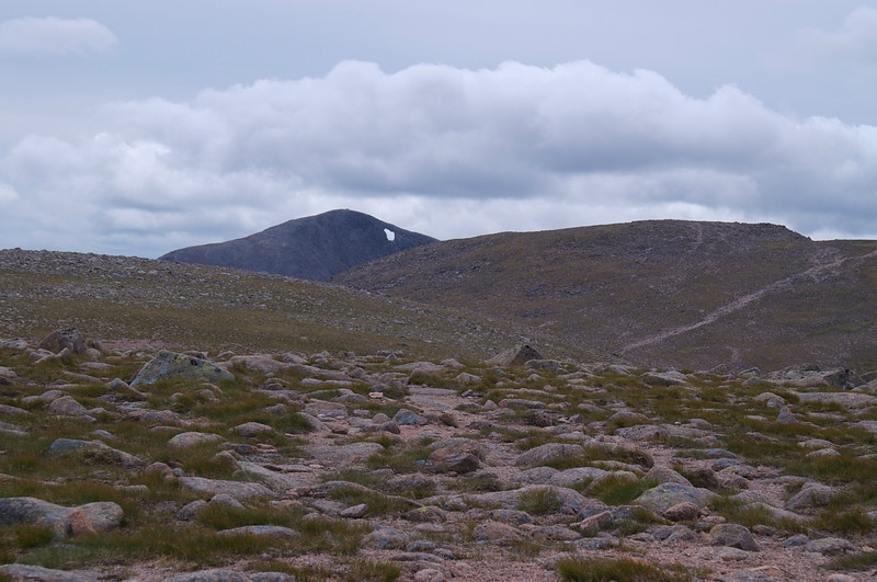 Ben Mcdui appears in the distance.  Closer is the path up onto Braeriach summit