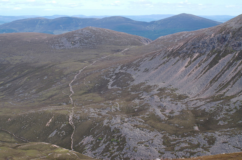 From near the summit of Sron na Lairige, looking back at the path down into the Lairig from the Chalamain Gap