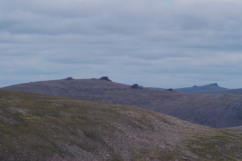 "The ""barns"" of Beinn Mheadhoinn (pronounced ""Ben Vane"" in Gaelic) seen from the upper slopes of Braeriach. I had planned a walk to these for Sunday but after Saturday's walk my feet disagreed, and the weather turned out bad anyway."