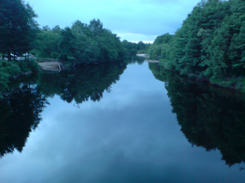 The river Spey at evening from the footbridge near Aviemore