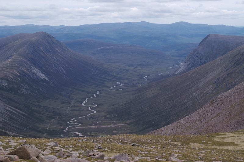 Looking down into upper Glen Dee from near the summit of Braeriach.  The Devil's Point is on the right.