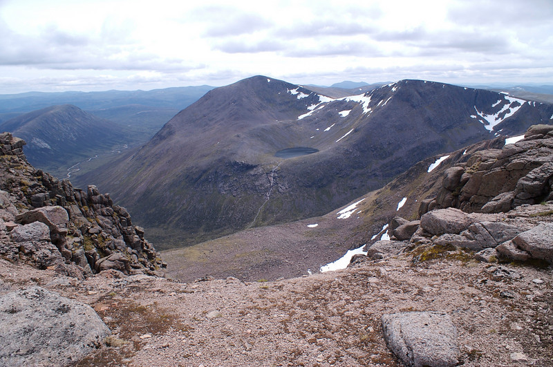 A longer view of Cairn Toul, Lochain Uaine and Sgor an Lochain Uaine from Braeriach