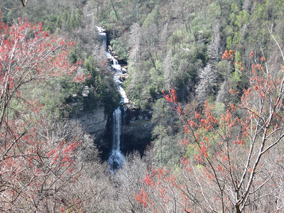 When viewed at original size, the suspension bridge at the top of the falls is readily visible.