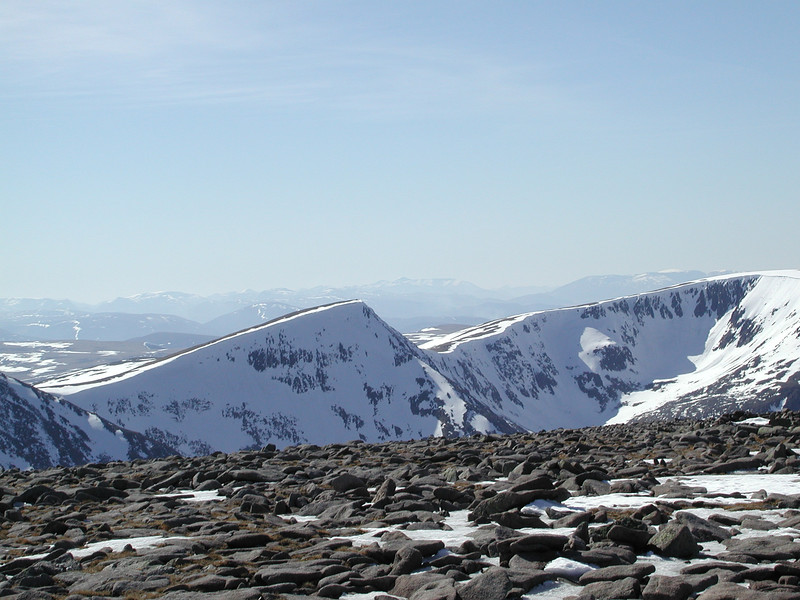 Looking across the Lairig Ghru to the summit of Sgur Lochan Uaine with Cairn Toul just out of sight on the left and Braeriach on the right.  The Ben Nevis range is just visible on the far horizon.