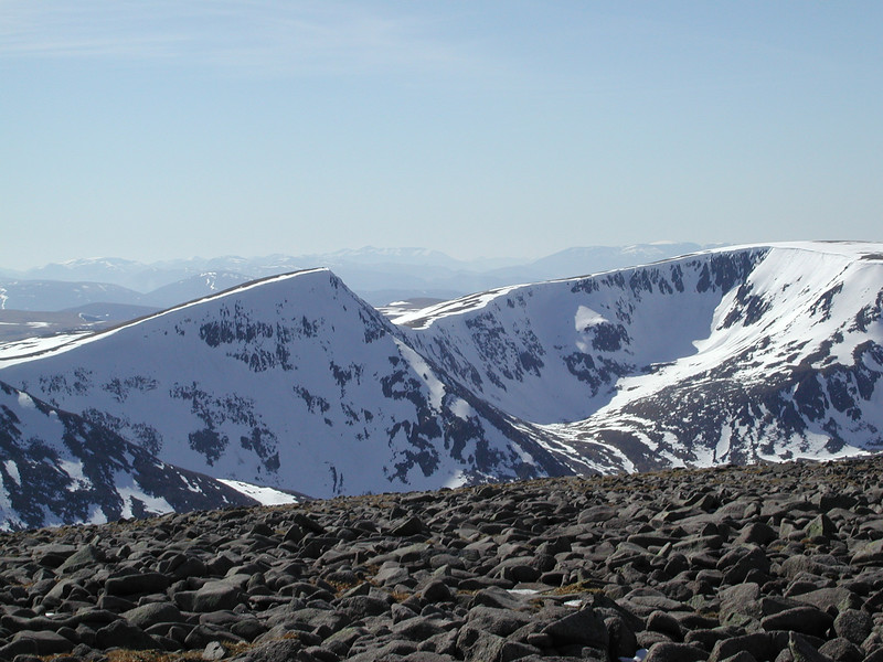 Ben Nevis - about 55 miles away - is the small peak left centre of the horizon, just beyond the point of Sgur Lochan Uaine summit