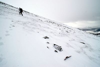Gary starting the climb to Geal Charn summit