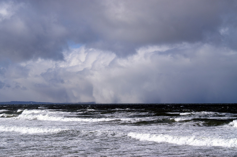 Snow storm approaching Findhorn across the Moray Firth