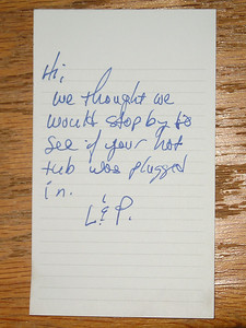 """Got back to my car, and found this note on my window... of all the odd coincidences in the world, guess who went hiking at Castle Rock today, from the same parking lot?  Their alternative message was going to be, """"That was too easy; if you want to hide from us, you'll have to try harder than that."""""""