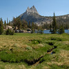 Cathedral Peak and the upper lake.