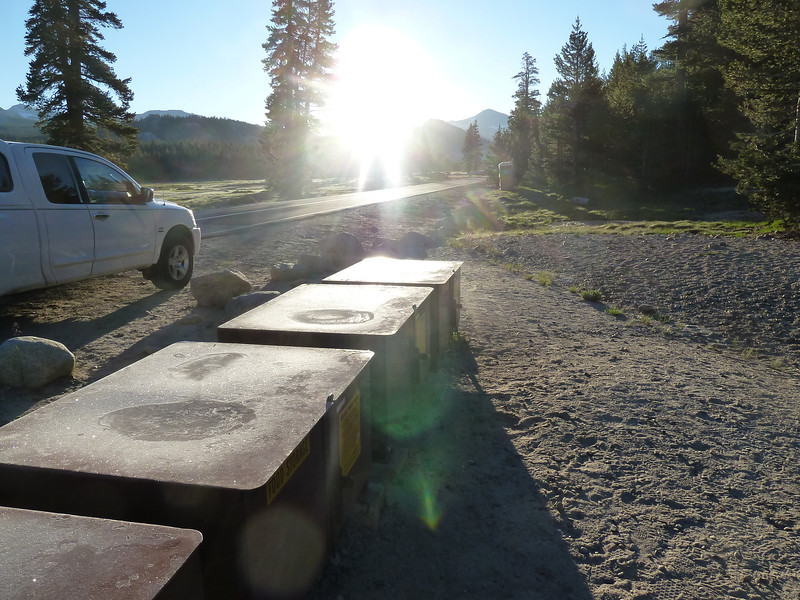July 18, frost on the bear boxes at Tuolumne Meadows