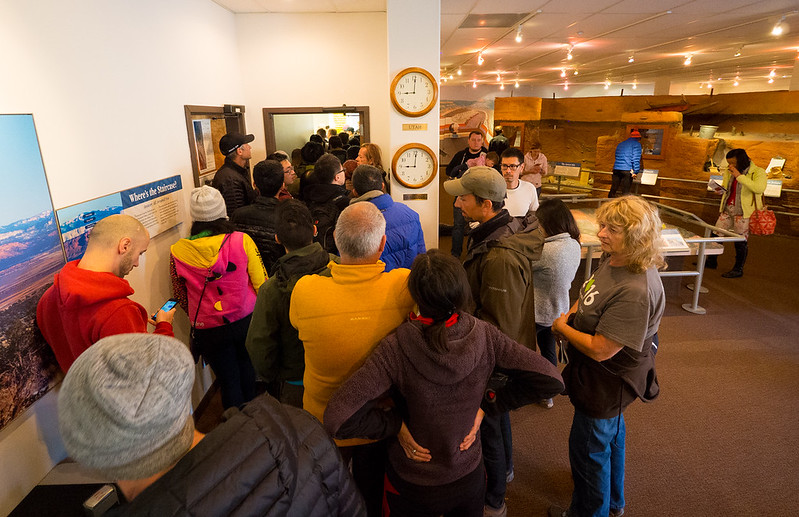 "The daily battle for hiking permits to ""The Wave"".  Kanab Visitor Center."