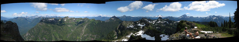 panorama view from Dickerman Mtn, maybe ~320 degrees (tree patch to the south blocks the remaining ~40 degrees)