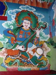 Detail of a buddha inside the Lukla shrine.