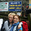 The trek begins: Gaynor and Eva newly arrived at Lukla airport in Solukhumbu.  2800m, so only another 2700 to climb...
