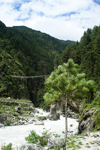 Suspension bridge before the really big climb up to Namche