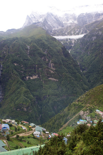 Looking out from Namche across the valley towards Kongde