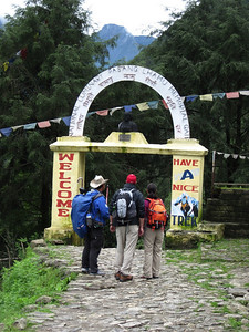 As you leave Lukla and enter the Khumbu valley proper, you pass through this little gate.  It's a memorial to Pasang Lhamu Sherpa, first Nepali woman to climb Everest (on 22 April 1993, also my Mum's 76th birthday).  Sadly, she died just 18 days later after falling into a crevasse on the descent. One biography on the web says she died on the south summit after trying to save the life of a fellow climber, Sonam Tshering, who got sick but also died.  Perhaps that explains the time lag between summit and descent. She was 31 years old.