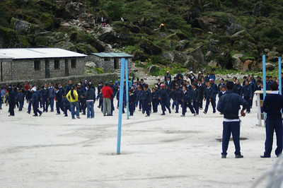 Children in the school playground at Khumjung