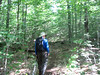 Mike leads the way on the un-official trail leading to Fisher.  Trail starts as old primitive logging road passing through young growth forest