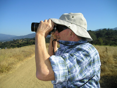 Dad searches for distant landmarks.