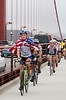 Cyclists on the bridge.