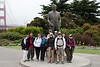 At statue of Joseph Strauss (bridge's designer/builder): The hikers: Lucia, Steven, Annette, Susan P, Susan L, Ellen, Kathy, Kraig, Aiko, Lisa