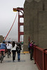 Lisa on the Bridge. This weekend, only one side of the bridge was open for both pedestrians and bikes; a little crowded.