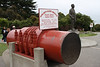 A piece of the bridge cable and Joseph Strauss.