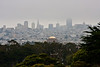 San Francisco; Transamerica pyramid left of center in the background; Palace of Fine Arts dome in the center.