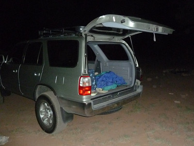 Camping overnight.  Slept well inside the car.