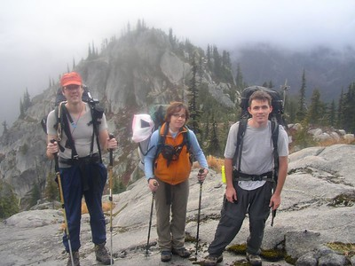Robert, Me, and Andy on the granite slab trail above Tuck Lake on our way to Robin Lakes.