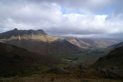 Looking down Great Langdale with the Langdal Pikes on the left.