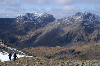 Sca Fell and Sca Fell Pike with Mickledore (the saddle) between