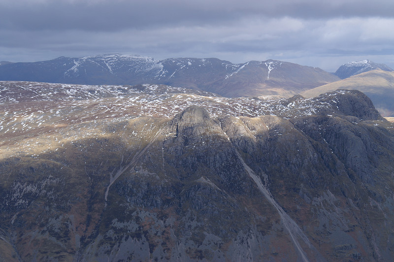 Langdale Fell from above with the whole Helvellyn range beyond