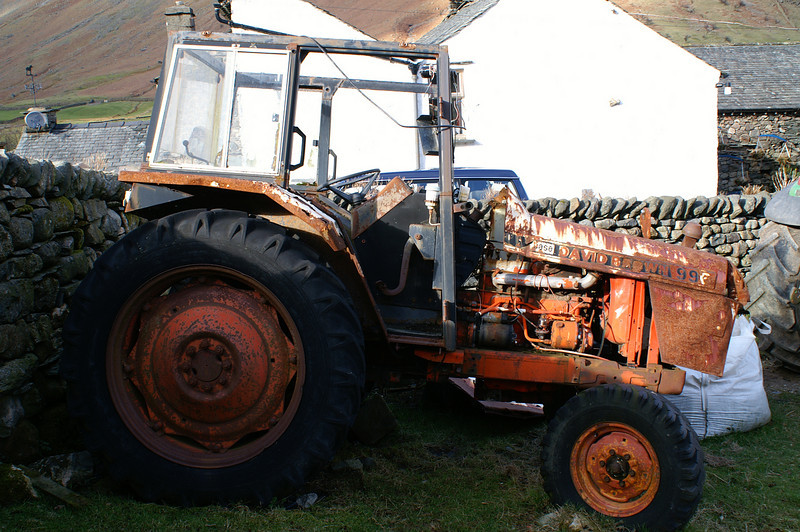 Old David Brown tractor on Stool End Farm