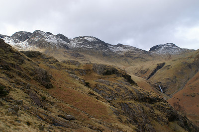 Looking up to the Crinkles from below Great Knott