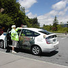 Smokies Clean Car and lady directing traffic. Telling people where to park at Newfound Gap.