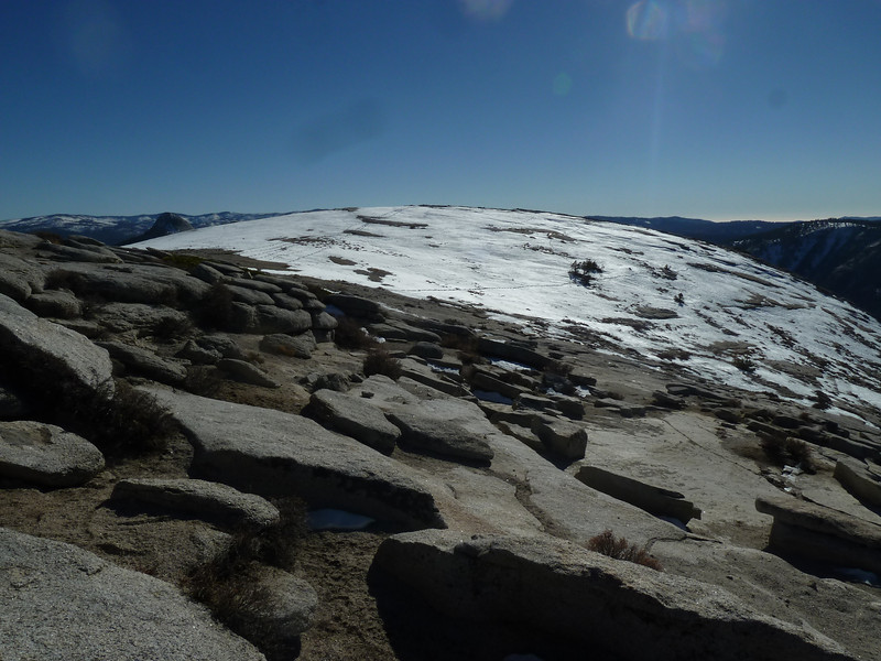 Top of the dome is a huge area.  Tracks through the snow from other hikers -- maybe Snake Dike climbers.