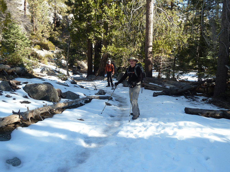 The icy trail to Little Yosemite Valley.