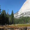 View from Lost Lake toward the Snake Dike route.  The Diving Board is up and around this flank of Half Dome.