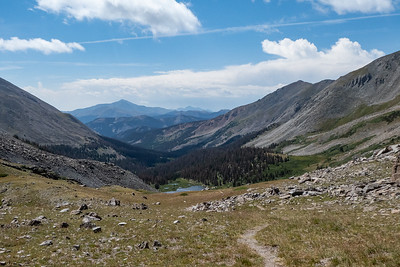 Valley on other side of pass - Mt Ouray in distance (climbed in 2014)