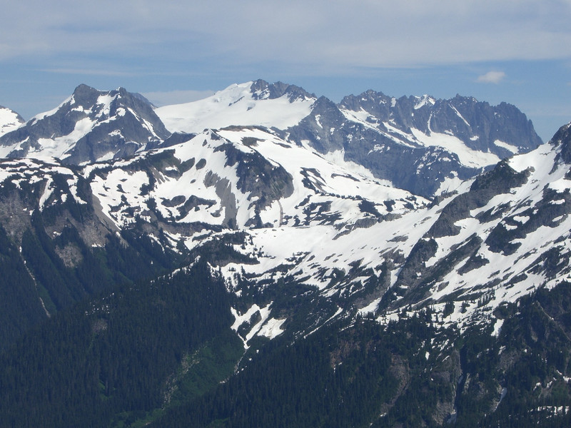 Close up view of Mt Challenger, the Challenger Glacier, and Whatcom Peak