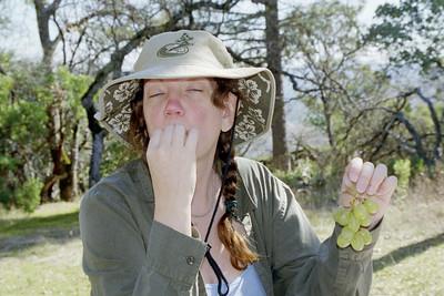 Linda eating grapes