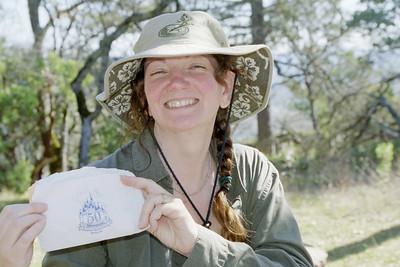 Linda with Disneyland napkin while hiking