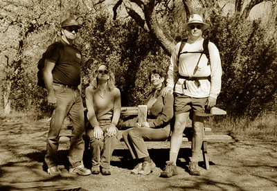 Jim, Ellen, Linda, Paul  practicing our old-time explorer poses
